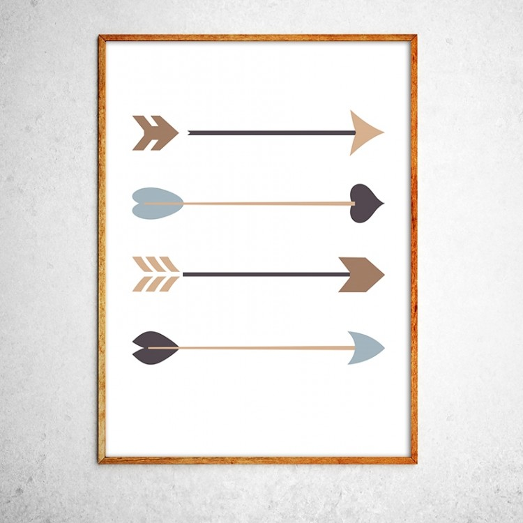 Art poster Arrows black and gold