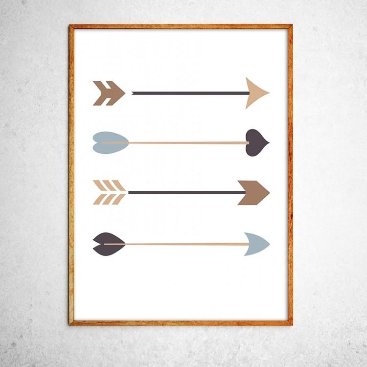 Арт постер Стрелы черные и золотые