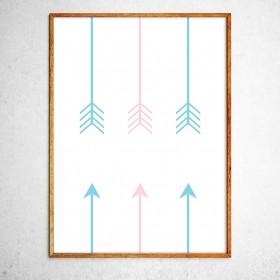 Арт постер Направление правильное, мятный и розовый