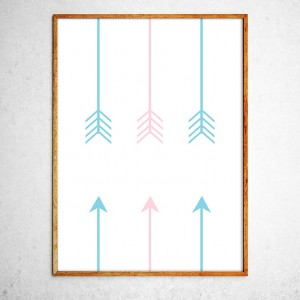 Art poster Right Direction, mint and pink