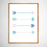 Art poster Arrows mint and pink