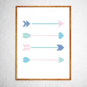 Арт постер Стрелы мятные и розовые