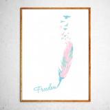 Арт постер Птицы свободны, мятный и розовый