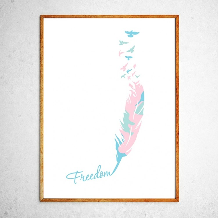 Art poster Birds are free mint and pink
