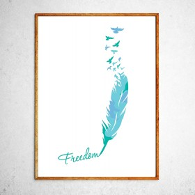 Art poster Birds are free mint and blue