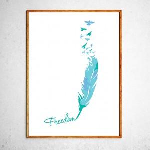 Арт постер Птицы свободны, мятный и голубой