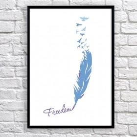 Арт постер Птицы свободны, синий