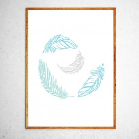 Art poster Feathers blue and grey