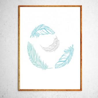 Арт постер Перышки синие и серые