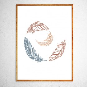Art poster Feathers brown and grey