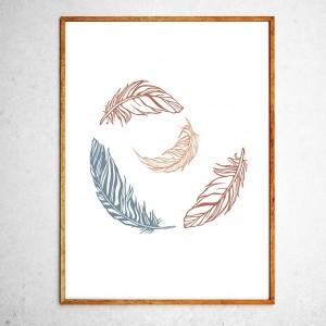 Арт постер Перышки коричневые и серые