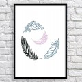 Art poster Feathers black and pink