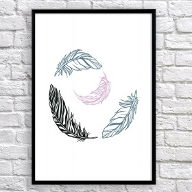 Арт постер Перышки черные и розовые