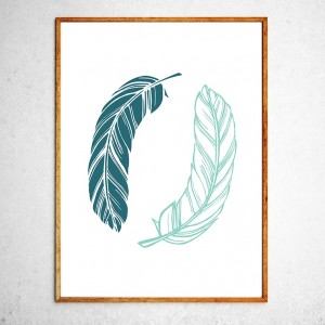 Art poster Two feathers green and blue