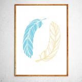 Арт постер Два пера голубое и желтое