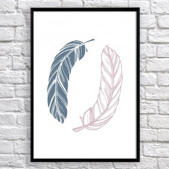 Арт постер Два пера серые и розовые