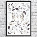 Art poster Indian feathers brown