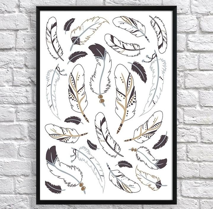 Арт постер Индейские перья коричневые