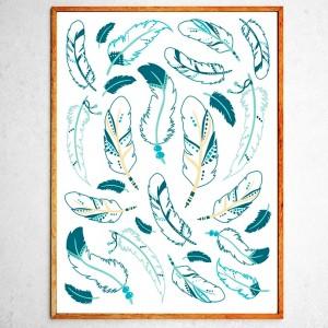 Арт постер Индейские перья бирюзовые