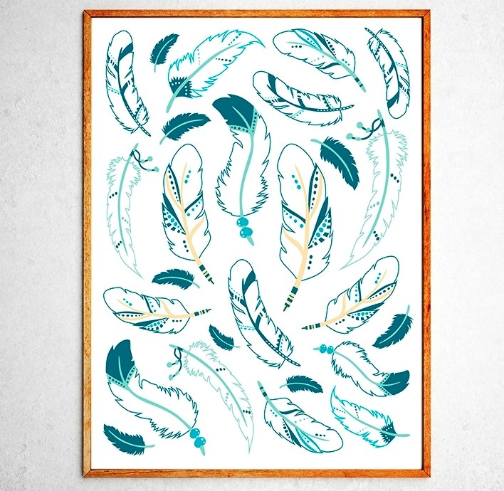 Art poster Indian feathers turquoise