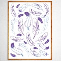 Art poster Indian feathers lavander