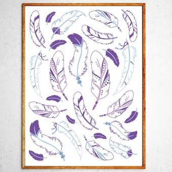 Арт постер Индейские перья лавандовые