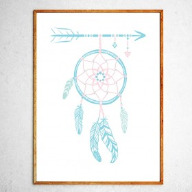 Art poster Dreamcatcher mint and pink