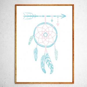 Арт постер Ловец снов, мятный и розовый