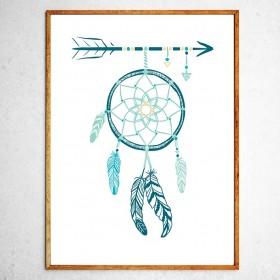 Арт постер Ловец снов, бирюзовый и зеленый