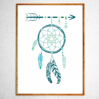 Art poster Dreamcatcher turquoise and green