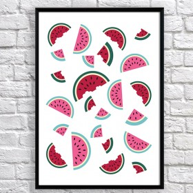 Art poster Slices of watermelon original