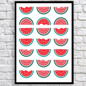 Art poster Halves of watermelon original