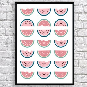 Арт постер Половинки арбуза пастельные розовые