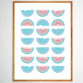 Art poster Halves of watermelon mint and pink