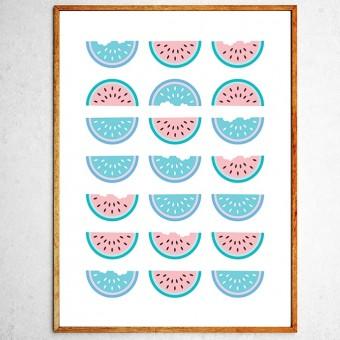 Арт постер Половинки арбуза мятные и розовые