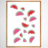 Art poster Watermelons in freefall original