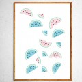 Art poster Watermelons in freefall mint and pink