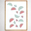 Арт постер Арбузы в свободном падении зеленые и розовые