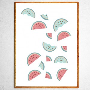 Art poster Watermelons in freefall green and pink