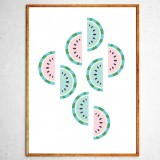 Art poster Watermelons mint and pink