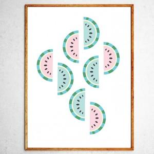 Арт постер Арбузы мятные и розовые