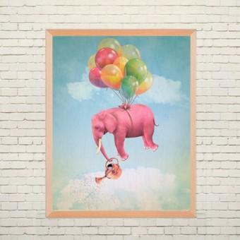 Арт плакат Летающий слоник