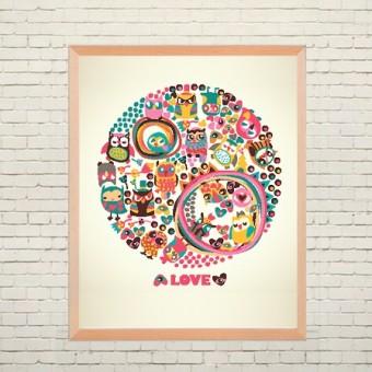 Арт плакат Любовь и совы