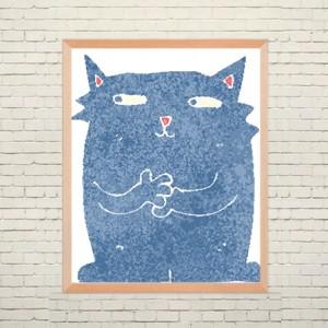 Арт постер Синий кот