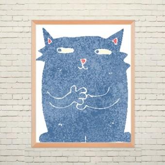 Арт плакат Синий кот