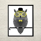 Art poster Owl with glasses