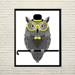 Арт постер Сова в очках