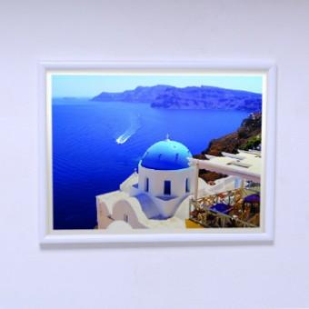 Плакат для спальни Вид на море Cанторини