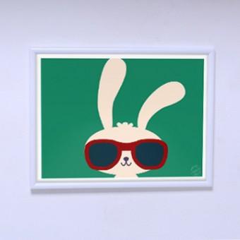 Современный плакат Модный зайчик
