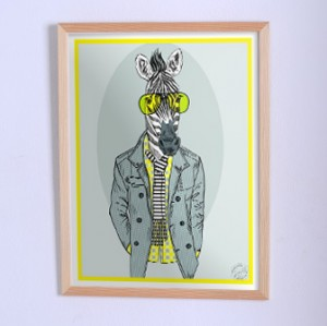 Art poster The zebra in jacket